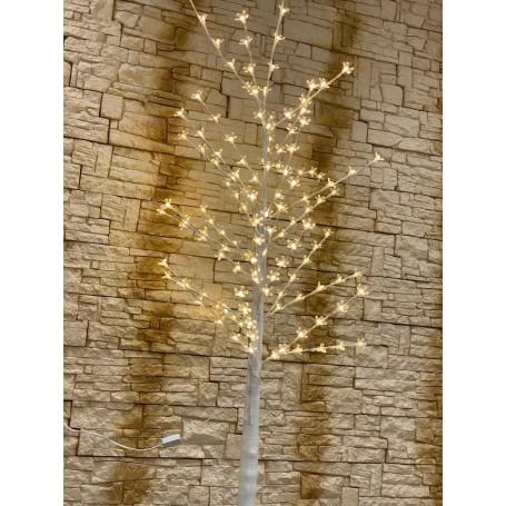 Copac decorativ sarbatori, Alb, iluminat 160 cm, 140 Leduri