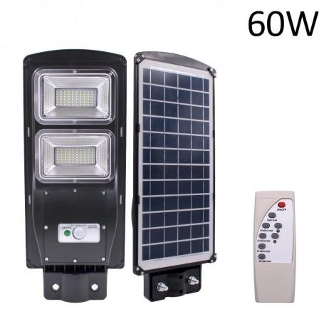 2 x Proiector stradal 60W cu panou solar, acumulator, senzor de miscare,suport de prindere inclus