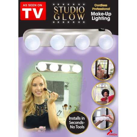 Suport luminos pentru oglinda Studio Glow, 4 becuri, Argintiu + Cadou: Epilator Facial