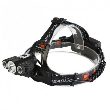 Lanterna frontala cu 3 leduri si 2 acumulatori, Led Cree 5W + Cadou: Prastie de mare viteza