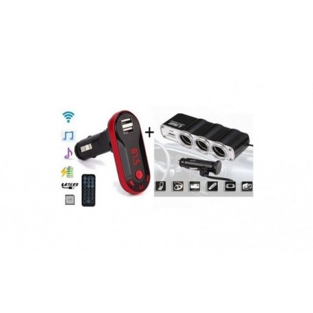 Pachet auto - Modulator FM mp3 player Bluetooth, cu incarcator pentru diverse dispozitive incorporat + priza bricheta tripla si USB incorporat