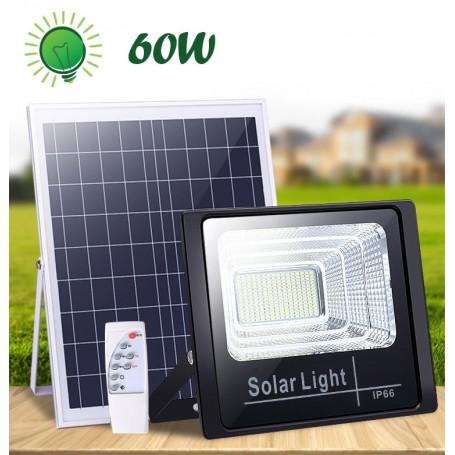 1+ 1 GRATIS: 2 x  Proiector Solar Puternic 60W autonomie 12 h, cu Panou Solar si Telecomanda cu Functii Multiple, Negru
